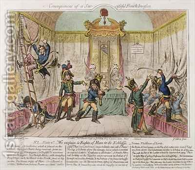 Consequences of a Successful French Invasion or We Explain de Rights of Man to the Noblesse by James Gillray - Reproduction Oil Painting