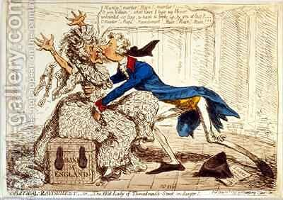 Political Ravishment  Or the Old Lady of Threadneedle Street in Danger by James Gillray - Reproduction Oil Painting