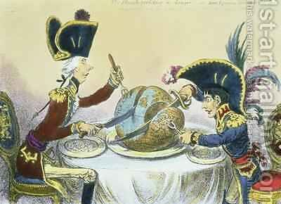 The Plum Pudding in Danger 2 by James Gillray - Reproduction Oil Painting