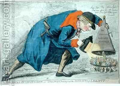 The Royal Extinguisher or Gulliver Putting Out the Patriots of Lilliput by James Gillray - Reproduction Oil Painting