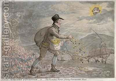 The Generae of Patriotism or The Bloomsbury Farmer planting Bedfordshire Wheat by James Gillray - Reproduction Oil Painting
