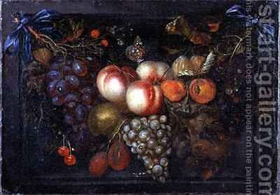 Still Life of Fruit in a Stone Niche by Jan Pauwel Gillemans The Elder - Reproduction Oil Painting