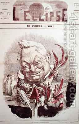 Caricature of Adolphe Thiers 1797-1877 from LEclipse by Andre Gill - Reproduction Oil Painting