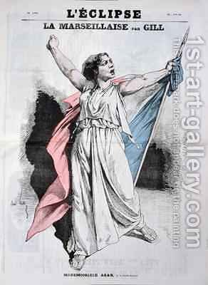 Mlle Agar singing the Marseillaise from the front cover of LEclipse by Andre Gill - Reproduction Oil Painting