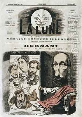 Caricature of Hernani written by Victor Hugo and directed by Auguste Vacquerie by Andre Gill - Reproduction Oil Painting