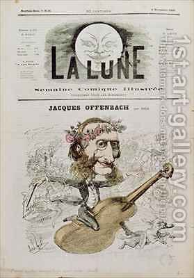 Front cover of La Lune with a caricature of Jacques Offenbach 1819-80 by Andre Gill - Reproduction Oil Painting