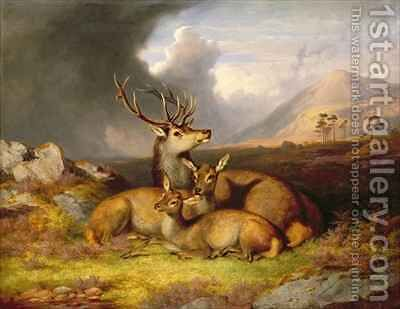 Highland Felicity Ben Lebrig in the Background by James William Giles - Reproduction Oil Painting