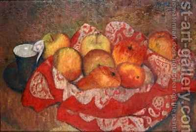 Apples and Pears on a Red Cloth by Mark Gertler - Reproduction Oil Painting