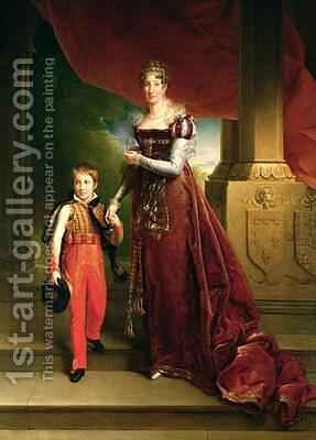 Marie Amelie de Bourbon 1782-1866 Duchess of Orleans and her Son Prince Ferdinand 1810-42 Duke of Chartres by Baron Francois Gerard - Reproduction Oil Painting