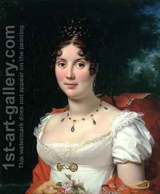 Portrait of a Lady in an Empire Dress by Baron Francois Gerard - Reproduction Oil Painting