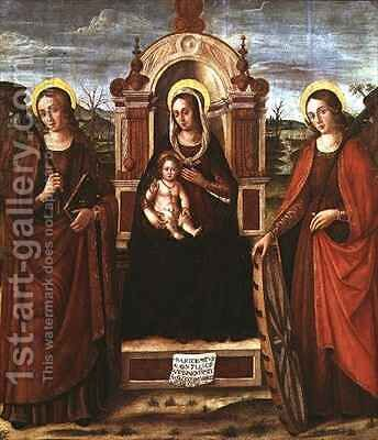 Madonna and Child Enthroned with St Catherine of Alexandria and a Holy Female Martyr by Bartolommeo de Gentile de Urbino - Reproduction Oil Painting