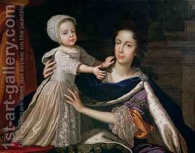 Portrait of Queen Mary of Modena 1658-1718 with Prince James Stuart 1688-1766 by Benedetto Gennari - Reproduction Oil Painting