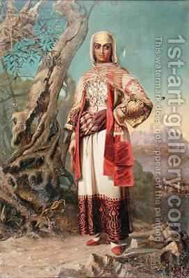Greek Girl in Regional Costume by Cleonice Gennadios - Reproduction Oil Painting