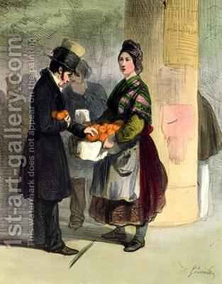 The Orange Seller by Alfred Andre Geniole - Reproduction Oil Painting
