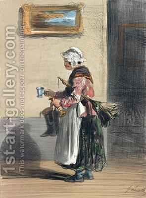 The Cleaning Lady by Alfred Andre Geniole - Reproduction Oil Painting