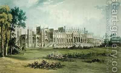 Eaton Hall West of Garden Front from Ackermanns Repository of Arts by (after) Gendall, John - Reproduction Oil Painting