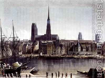 View of Rouen from Views on the Seine by (after) Gendall, John - Reproduction Oil Painting