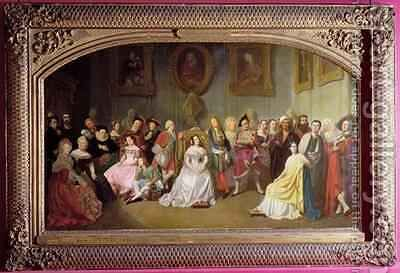 Members of the Comedie Francaise in 1840 by Edmond Aime Florentin Geffroy - Reproduction Oil Painting