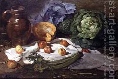 Still Life with Cabbages by Armand Gautier - Reproduction Oil Painting