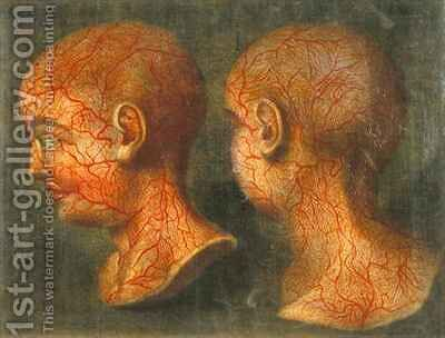 Superficial blood vessels of the head and neck by Jacques - Fabien Gautier - Dagoty - Reproduction Oil Painting