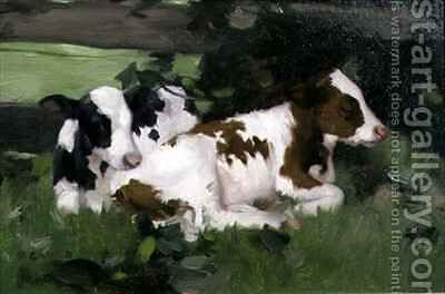 Ayrshire Calves by David Gauld - Reproduction Oil Painting