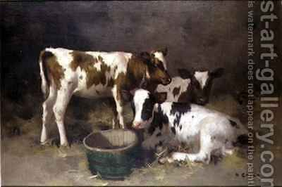 Three Calves by David Gauld - Reproduction Oil Painting
