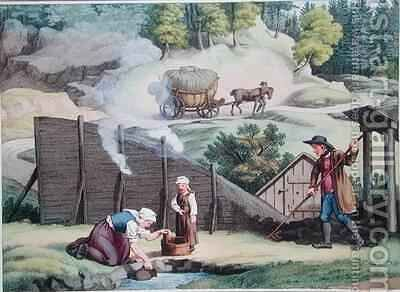 Making charcoal in Austria by (after) Gauermann, Jakob - Reproduction Oil Painting