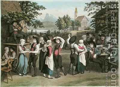 Austrian Village Dance by (after) Gauermann, Jakob - Reproduction Oil Painting