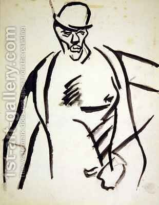 Man in Bowler Hat by Henri Gaudier-Brzeska - Reproduction Oil Painting