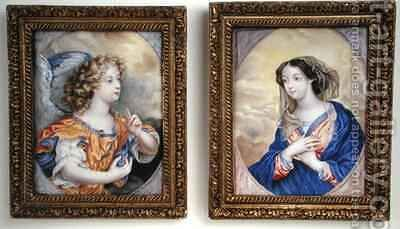 A pair of miniatures depicting the Annunciation by Henri Gascard - Reproduction Oil Painting