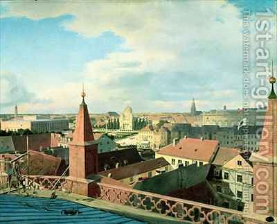 View of the city of Berlin with Altes Museum and Cathedrale from the roof of the Church of Friedrichswerder by Eduard Gartner - Reproduction Oil Painting
