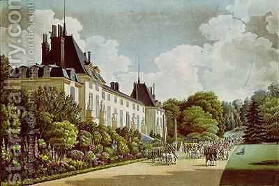 View of the Chateau de la Malmaison next to the park by Auguste Simon Garneray - Reproduction Oil Painting