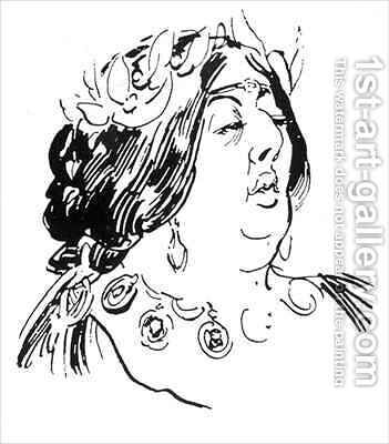 Portrait of Jane Francesca Agnes Wilde as Madame de Recamier by Harry Furniss - Reproduction Oil Painting