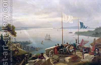 Foundation of the city of Quebec by Samuel de Champlain in 1608 by Ambroise-Louis Garneray - Reproduction Oil Painting