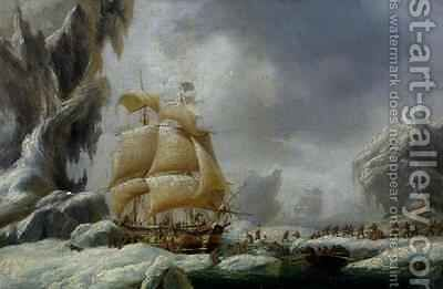 The Ship of Jules Dumont dUrville 1790-1845 Stuck in an Ice Floe in Antarctica by Ambroise-Louis Garneray - Reproduction Oil Painting