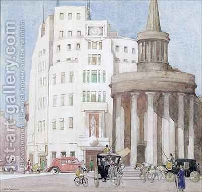 Past and Present Broadcasting House and All Souls Langham Place London by Edith Mary Garner - Reproduction Oil Painting