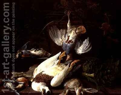 A Still Life of Dead Birds and a Rabbit by Hieronymus Galle I - Reproduction Oil Painting