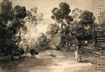 Wooded landscape with figures cottage and cow by (after) Gainsborough, Thomas - Reproduction Oil Painting
