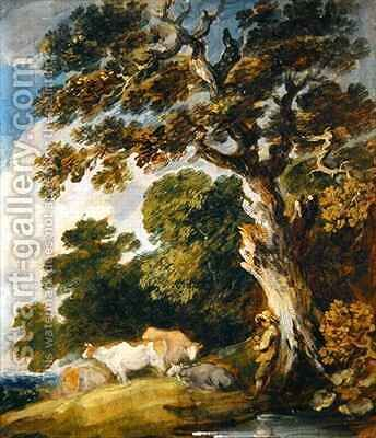 A wooded landscape with cattle and herdsmen by Dupont Gainsborough - Reproduction Oil Painting