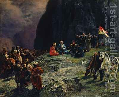 The Meeting of General Kluke von Klugenau and Imam Shamil in 1837 by Grigori Grigorevich Gagarin - Reproduction Oil Painting