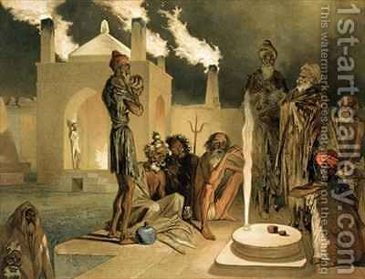 Ateseh Gah Indians Devoted to the Cult of Fire Baku by (after) Gagarin, Grigori Grigorevich - Reproduction Oil Painting