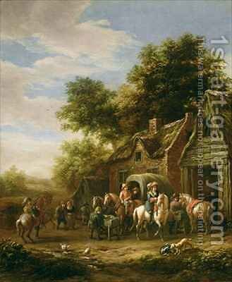 Landscape with travellers beside a cottage by Barend Gael or Gaal - Reproduction Oil Painting