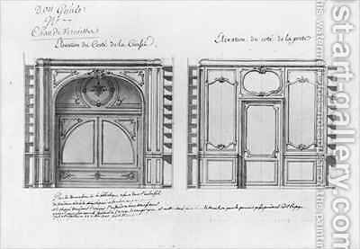 Plan and Elevation of the decoration of the library of Madame Adelaide by Ange-Jacques Gabriel - Reproduction Oil Painting