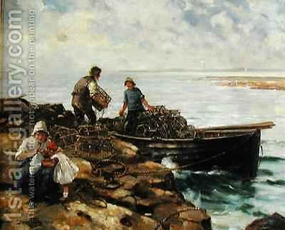 Loading Lobster Pots by David Fulton - Reproduction Oil Painting