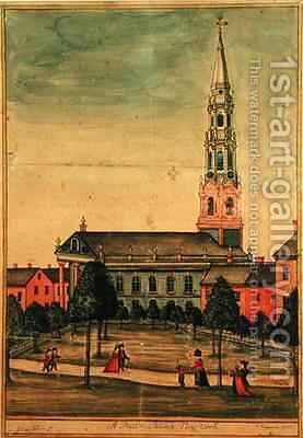 St Pauls Chapel New York City by A. Freyman - Reproduction Oil Painting