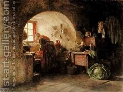 Preparing Dinner by Edouard Frère - Reproduction Oil Painting