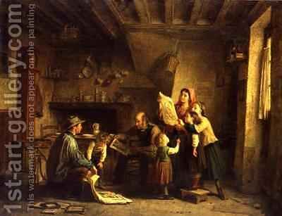 The Art Dealer by Edouard Frère - Reproduction Oil Painting