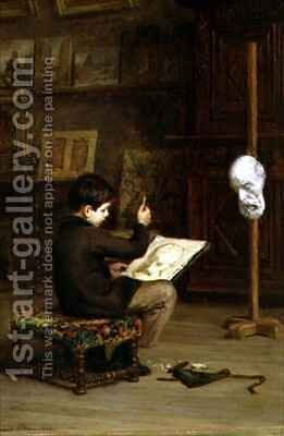 Young Boy Drawing from a Cast Head by Edouard Frère - Reproduction Oil Painting