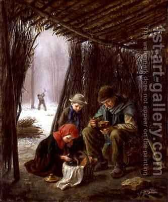 The Woodcutters Meal by Edouard Frère - Reproduction Oil Painting