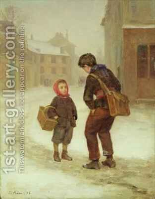 On the way to school in the snow by Edouard Frère - Reproduction Oil Painting